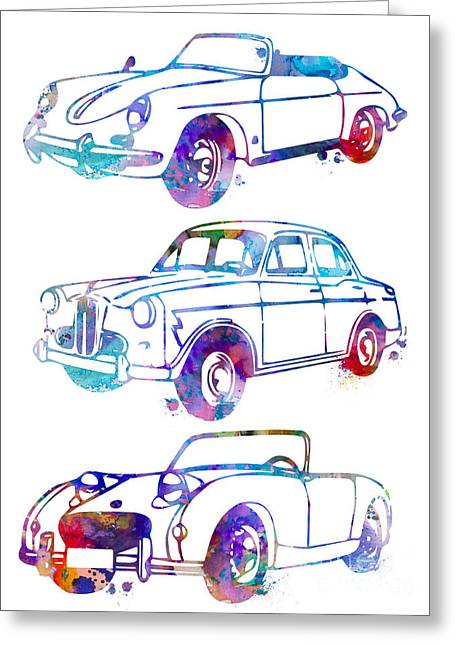 Silhouette Art Greeting Cards - Watercolor art Cars illustration wall decor home art office art nursery art Greeting Card by Luke and Slavi