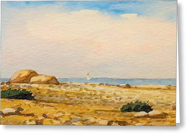 Lutz Baar Greeting Cards - Watercolor Beach Greeting Card by Lutz Baar