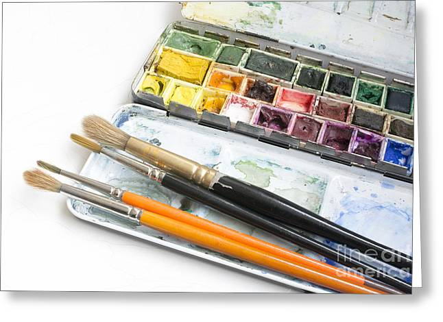 Paintbox Greeting Cards - Watercolor box Greeting Card by Christina Rahm