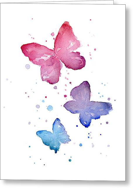 Baby Girl Greeting Cards - Watercolor Butterflies Greeting Card by Olga Shvartsur