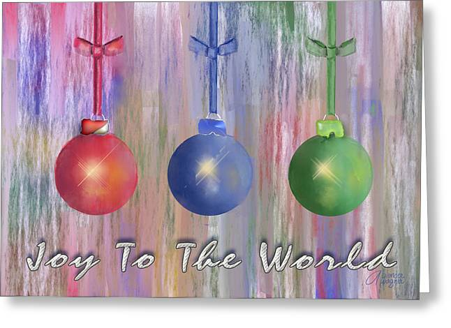 Joy To The World Greeting Cards - Watercolor Christmas Bulbs Greeting Card by Arline Wagner