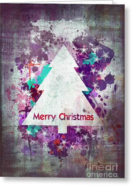 Christmas Greeting Greeting Cards - Watercolor Christmas tree card Greeting Card by Delphimages Photo Creations