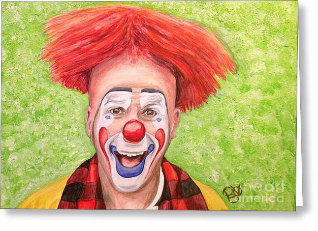Psovart Paintings Greeting Cards - Watercolor Clown #8 Steve Copeland Greeting Card by Patty Vicknair