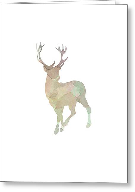 Water Color Digital Art Greeting Cards - Watercolor Deer Greeting Card by Sara Habecker
