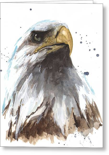 Eagle Paintings Greeting Cards - Watercolor Eagle Greeting Card by Alison Fennell