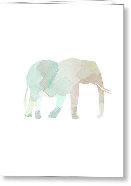 Watercolor Print Greeting Cards - Watercolor Elephant Greeting Card by Sara Habecker