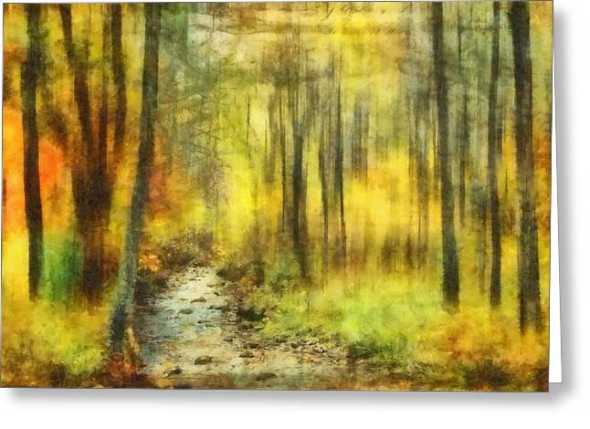Kathy Jennings Fine Art Prints Greeting Cards - Watercolor Fall Greeting Card by Kathy Jennings
