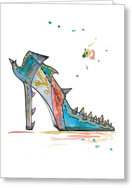 Aqua Drawings Greeting Cards - Watercolor fashion illustration art Greeting Card by Marian Voicu