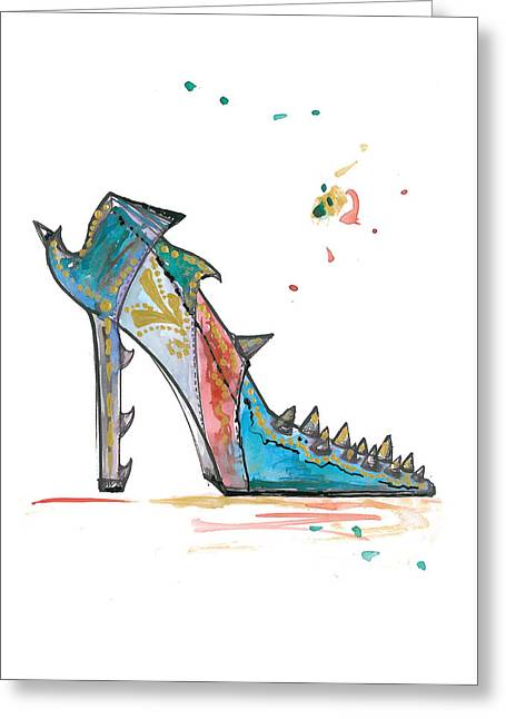 High Heeled Greeting Cards - Watercolor fashion illustration art Greeting Card by Marian Voicu
