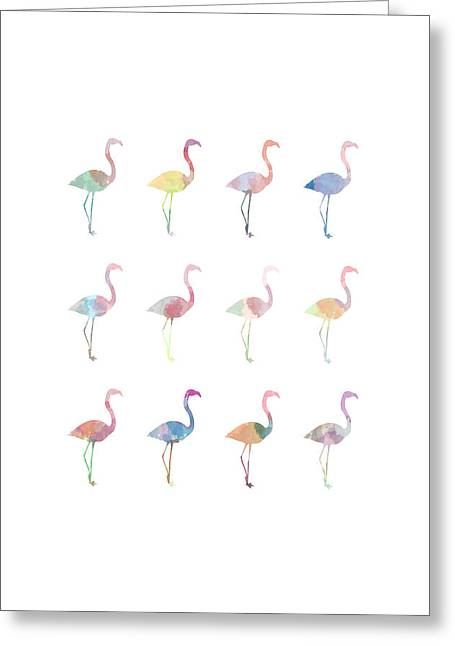 Water Color Digital Art Greeting Cards - Watercolor Flamingo Greeting Card by Sara Habecker