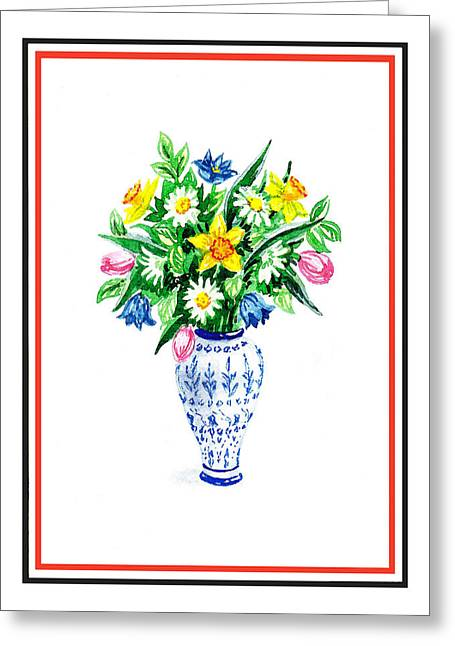 Watercolor Flowers Bouquet In Chinese Antique Vase Greeting Card by Irina Sztukowski