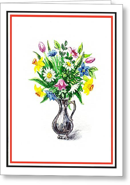 Pitcher Paintings Greeting Cards - Watercolor Flowers Bouquet In Metal Pitcher Impressionism Greeting Card by Irina Sztukowski