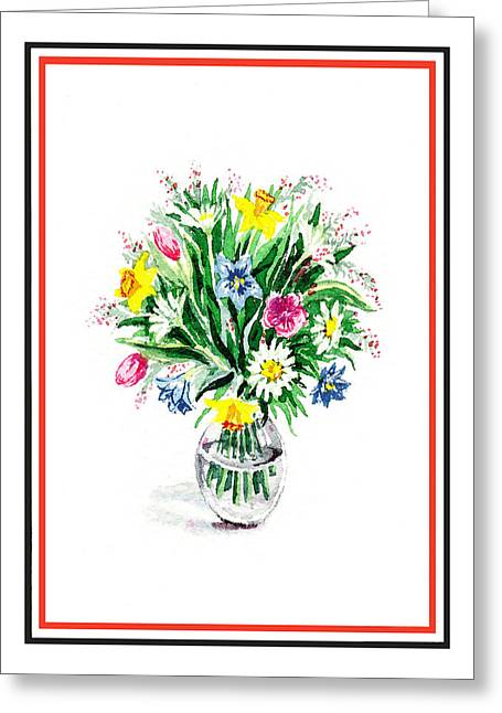 Watercolor Flowers Bouquet In The Glass Vase Greeting Card by Irina Sztukowski