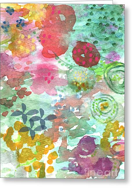 Big Mixed Media Greeting Cards - Watercolor Garden Blooms Greeting Card by Linda Woods