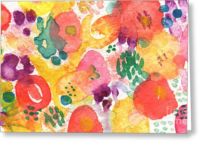Purples Greeting Cards - Watercolor Garden Greeting Card by Linda Woods