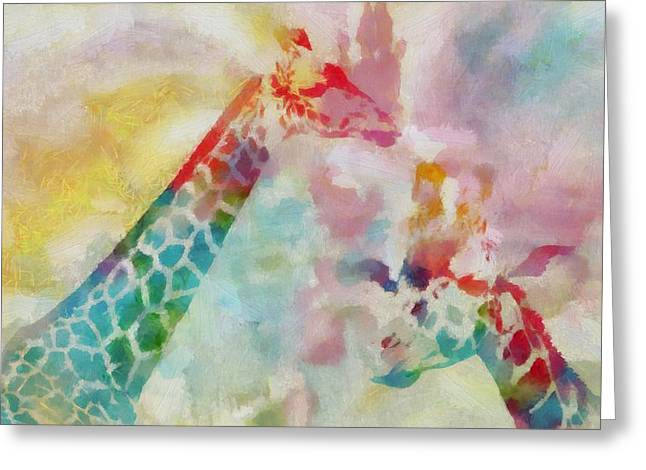 Cute Mixed Media Greeting Cards - Watercolor Giraffes Greeting Card by Dan Sproul