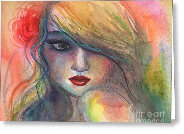 Flower In Hair Greeting Cards - Watercolor girl portrait with flower Greeting Card by Svetlana Novikova
