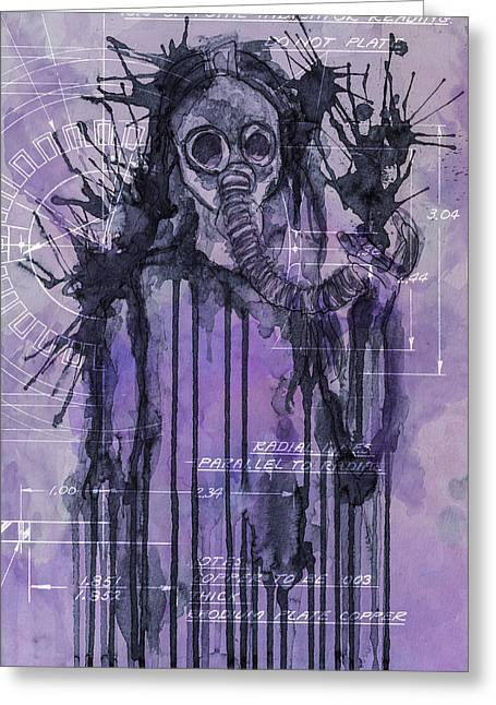 Hallucination Greeting Cards - Watercolor female portrait grunge gas mask Greeting Card by Andy Gimino