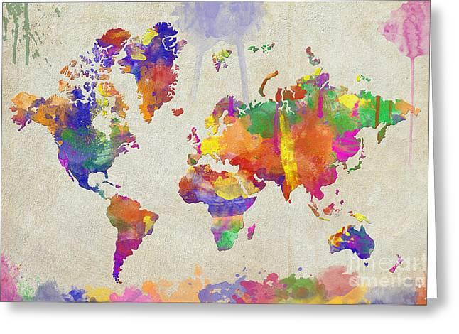 Zaira Dzhaubaeva Greeting Cards - Watercolor Impression World Map Greeting Card by Zaira Dzhaubaeva