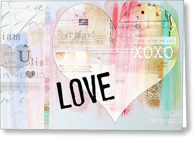 Baby Licensing Greeting Cards - Watercolor Love - Pink Hearts Greeting Card by ArtyZen Home