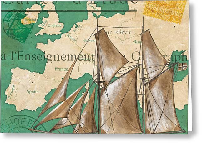Watercolor Map 1 Greeting Card by Debbie DeWitt