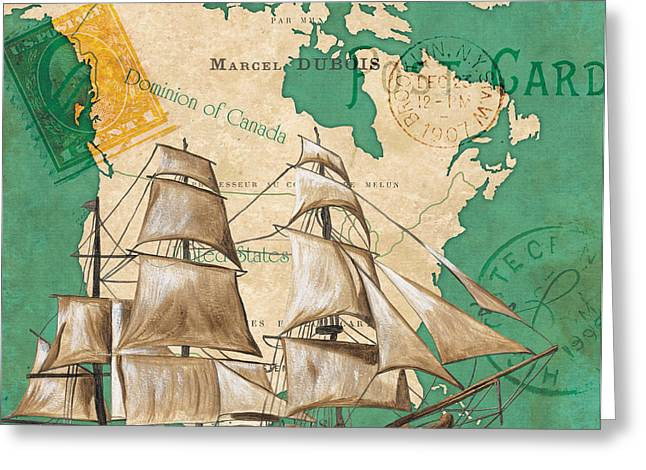 North Sea Greeting Cards - Watercolor Map 2 Greeting Card by Debbie DeWitt