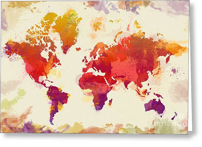Famouse Greeting Cards - Watercolor Map Greeting Card by Zaira Dzhaubaeva