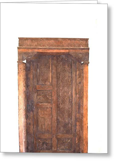 Medieval Entrance Paintings Greeting Cards - watercolor of antique Moroccan style wooden door on white wall Greeting Card by Ammar Mas-oo-di