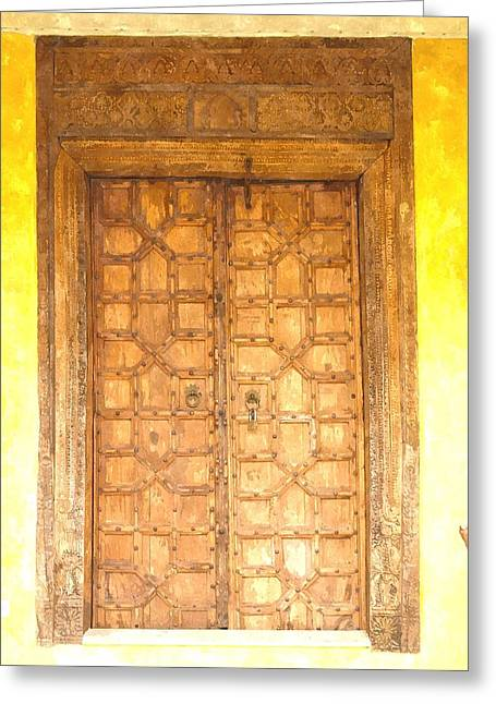 Medieval Entrance Paintings Greeting Cards - watercolor of antique Moroccan style wooden door on yellow wall Greeting Card by Ammar Mas-oo-di