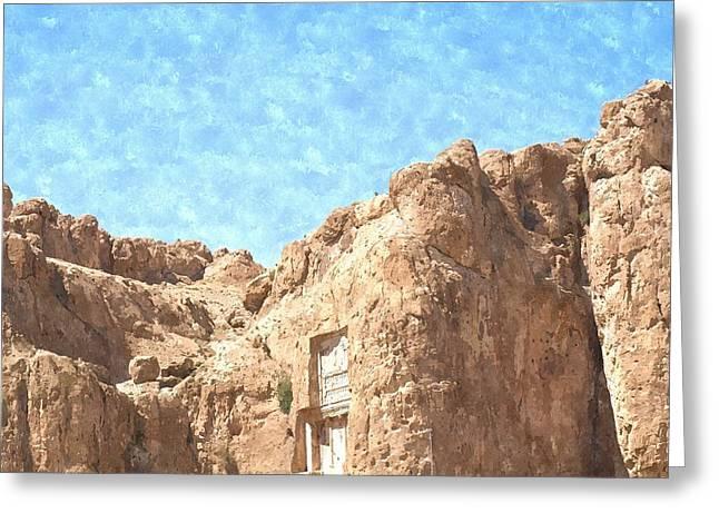 Xerxes Greeting Cards - Watercolor of Naqsh-e Rustam in Fars province in Shiraz in Iran Greeting Card by Ammar Mas-oo-di