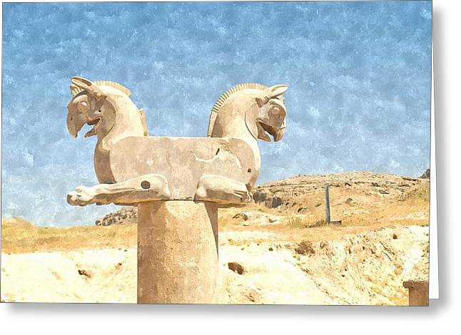 Xerxes Greeting Cards - Watercolor of two-headed Griffin statue in an ancient city of Persepolis in Shiraz in Iran Greeting Card by Ammar Mas-oo-di