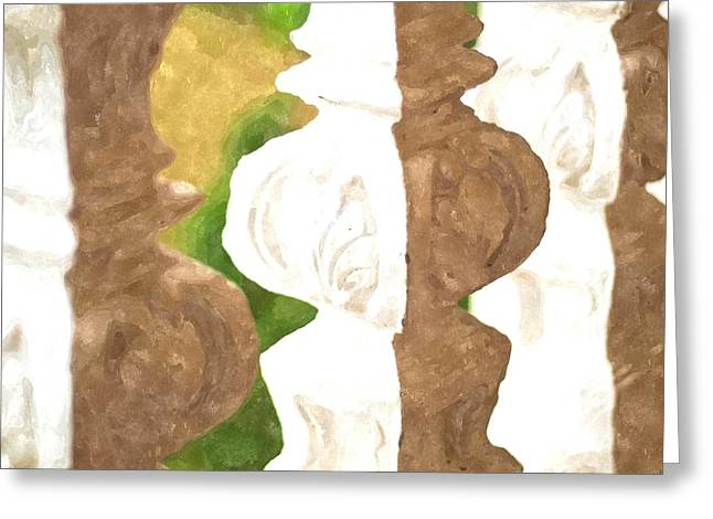 Bannister Paintings Greeting Cards - Watercolor Of White Banister Plaster Greeting Card by Ammar Mas-oo-di