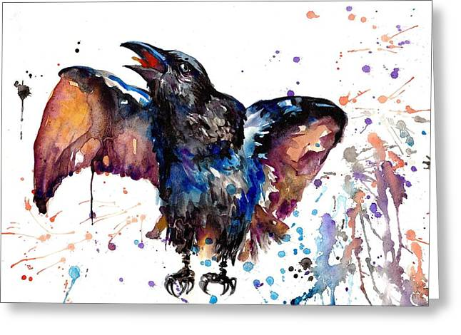 Crow Art Greeting Cards - Watercolor Painting - Croaking Raven Greeting Card by Tiberiu Soos