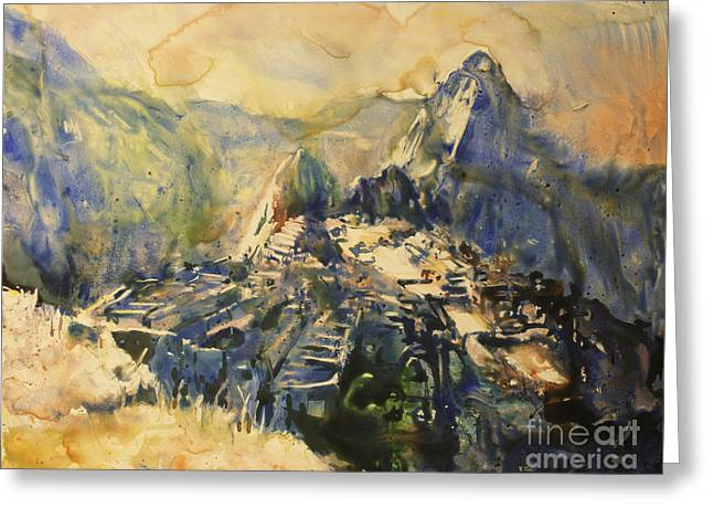 Religious Paintings Greeting Cards - Watercolor painting Machu Picchu Peru Greeting Card by Ryan Fox