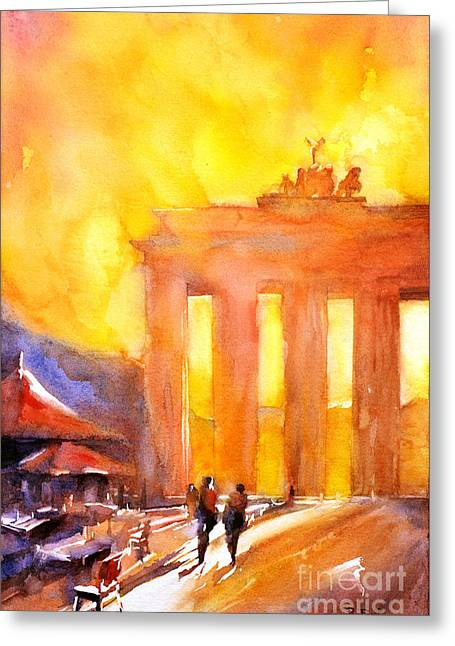 Watercolor Painting Of Brandenburg Gate Berlin Germany Greeting Card by Ryan Fox
