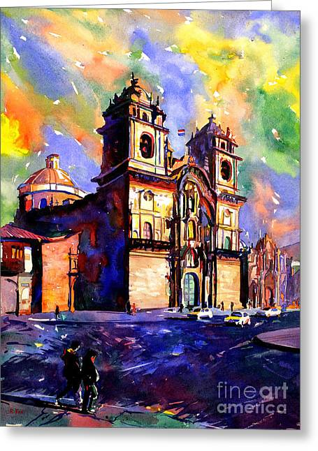 Lessons Greeting Cards - Watercolor painting of Church on the Plaza de Armas Cusco Peru Greeting Card by Ryan Fox