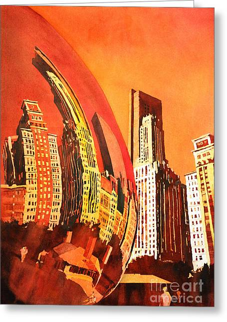 Park Scene Paintings Greeting Cards - Watercolor painting of downtown skyscrapers- Chicago Greeting Card by Ryan Fox
