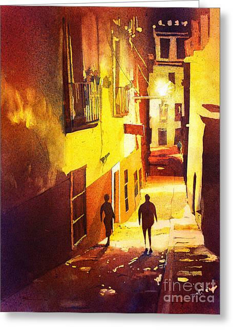American Watercolor Society Greeting Cards - Watercolor painting of Guanajuato Mexico Greeting Card by Ryan Fox