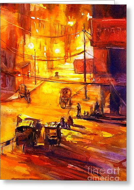 Watercolor Painting Of Kathmandu Street- Nepal Greeting Card by Ryan Fox