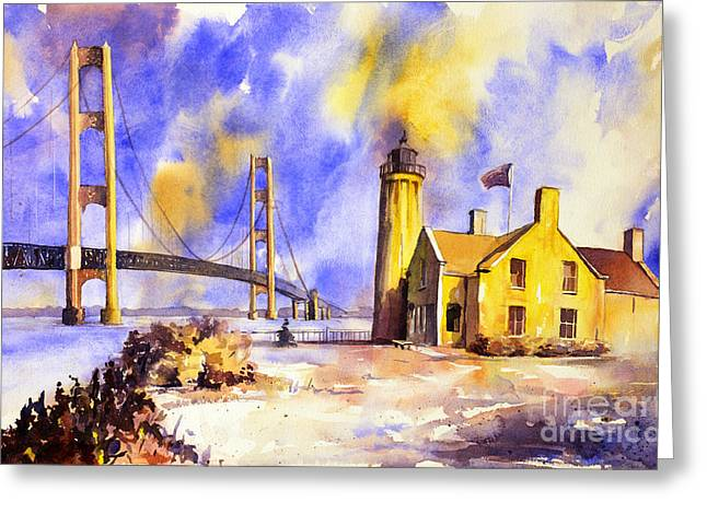 Watercolor Painting Of Ligthouse On Mackinaw Island- Michigan Greeting Card by Ryan Fox