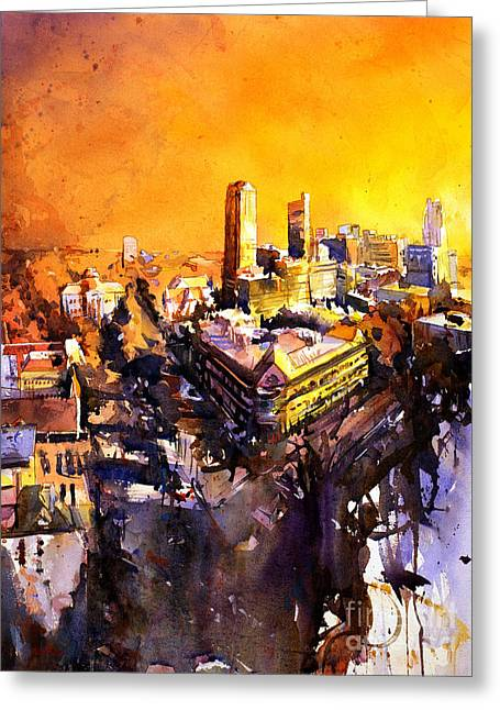 Watercolor Society Greeting Cards - Watercolor painting of Raleigh North Carolina skyline Greeting Card by Ryan Fox