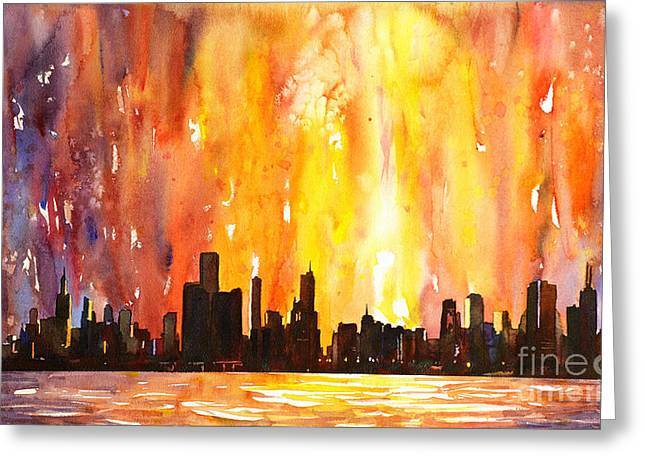 Lessons Greeting Cards - Watercolor painting of skycrapers of downtown Chicago as viewed  Greeting Card by Ryan Fox