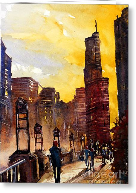 Watercolor Painting Of Skyscrapers Of Downtown Chicagoill Greeting Card by Ryan Fox