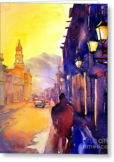 Colonial Architecture Greeting Cards - Watercolor painting of street and church Morelia Mexico Greeting Card by Ryan Fox