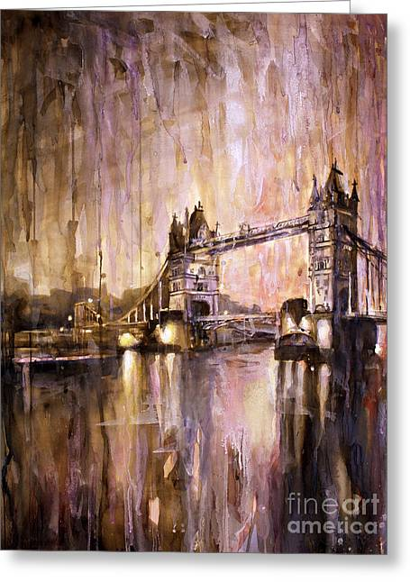 Watercolor Society Greeting Cards - Watercolor painting of Tower Bridge London England Greeting Card by Ryan Fox