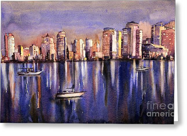 North Vancouver Paintings Greeting Cards - Watercolor painting of Vancouver skyline Greeting Card by Ryan Fox