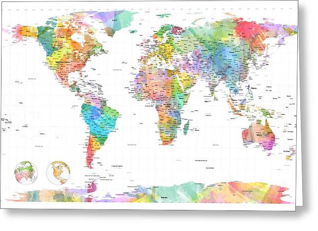 Planet Greeting Cards - Watercolor Political Map of the World Greeting Card by Michael Tompsett