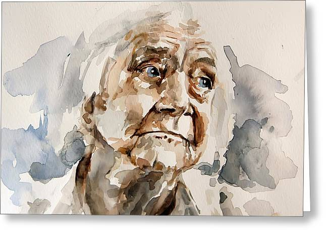 Colorful Photography Drawings Greeting Cards - Watercolor Portrait of an old woman Greeting Card by Michael Tsinoglou