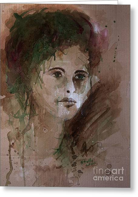 Levi Mixed Media Greeting Cards - Watercolor Portrait Greeting Card by Stella Levi