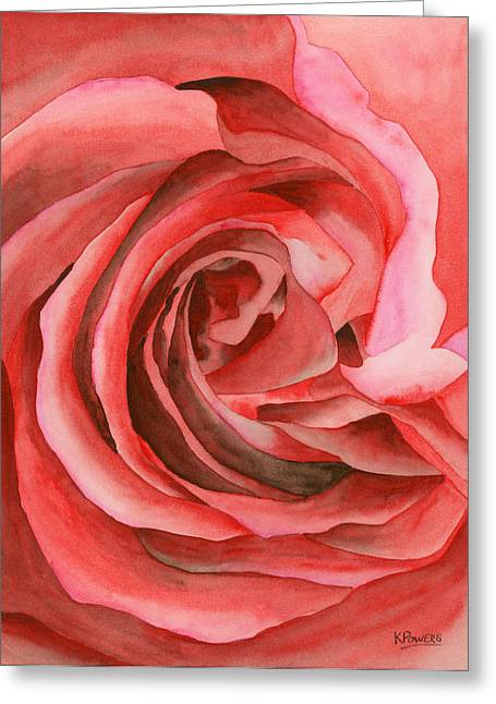 Close Up Paintings Greeting Cards - Watercolor Rose Greeting Card by Ken Powers